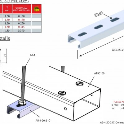 Trunking Cable Trays Tray Carriers (41x21 C Profile Series)